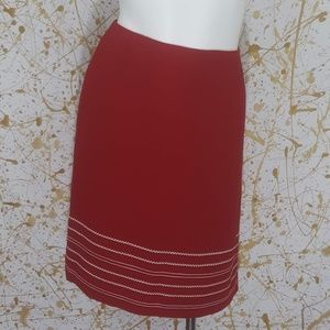 Talbots red embroidered midi skirt size 6 petite